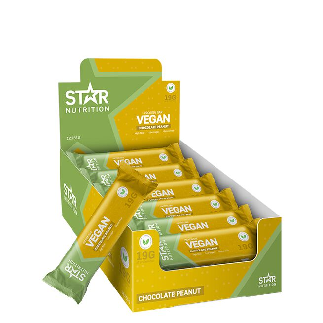 12 x Star Nutrition Vegan Protein bar, 55 g, Peanut Chocolate